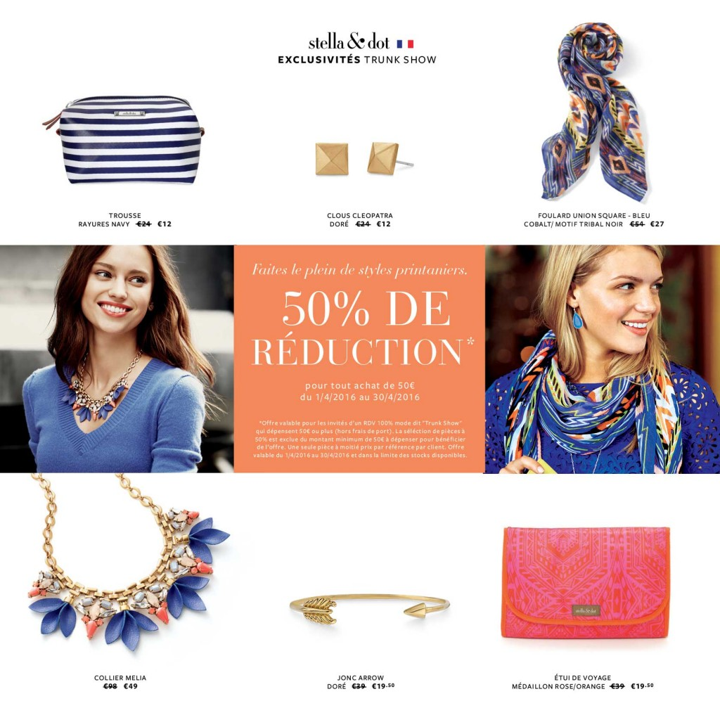 L'Offre Exclusive Trunk Show Stella & Dot du mois d'avril