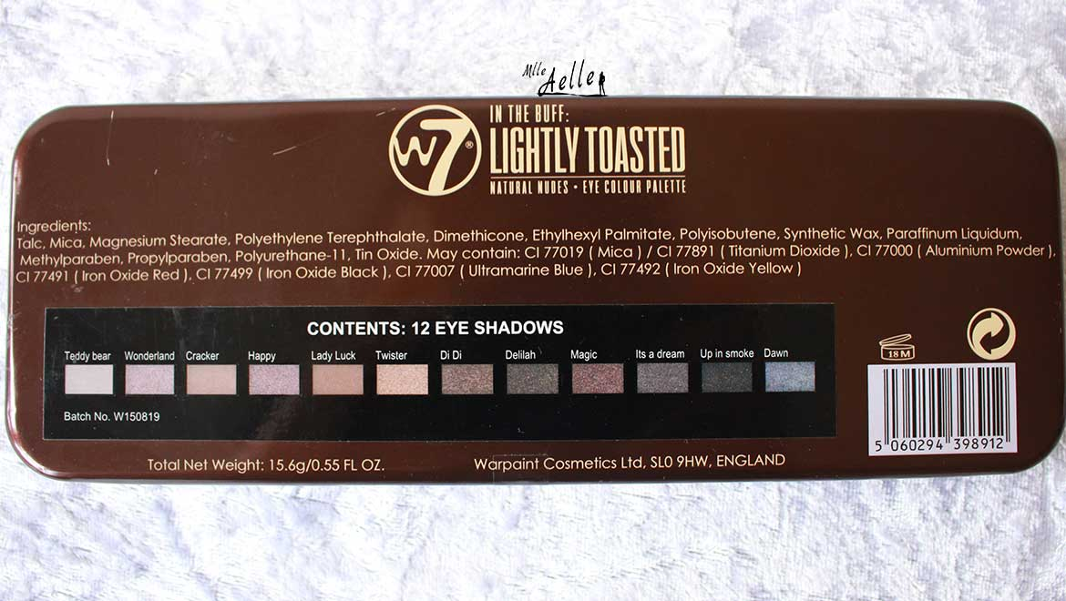Revue de la palette Lightly Toasted de W7