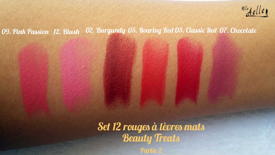 Swatch : Les rouges à lèvres Matte Mania de Beauty Treats
