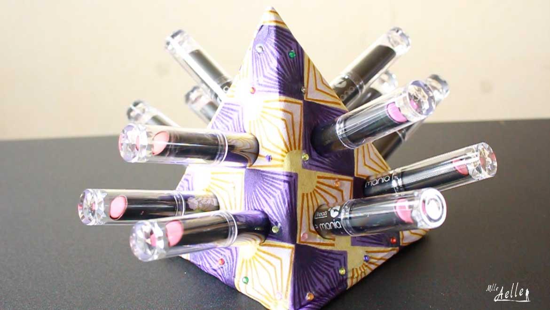 DIY rangement - La pyramide à rouges à lèvres