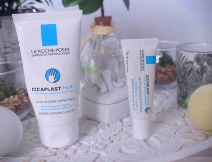 J'ai testé le Baume Réparateur Lèvres et la Crème Réparatrice Mains Cicaplast de La Roche-Posay