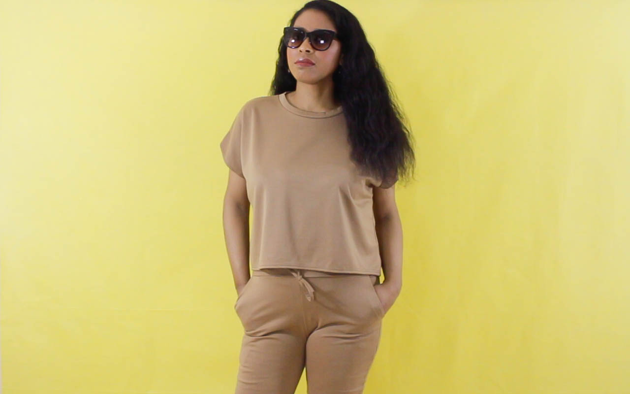 Camel Short Sleeve Boxy Loungewear Set